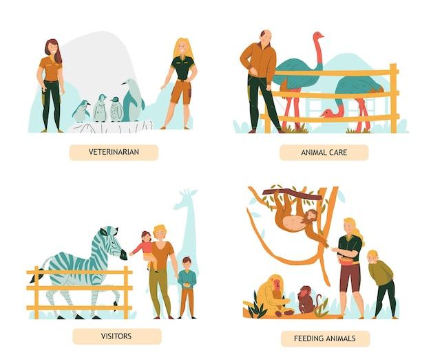 Zestaw płaskich kompozycji z gośćmi zoo i osobami opiekującymi się zwierzętami na białym tle