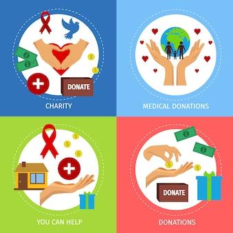 Zestaw płaskich koncepcji charytatywnych
