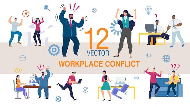 Zestaw płaskich koncepcji konfliktu w miejscu pracy