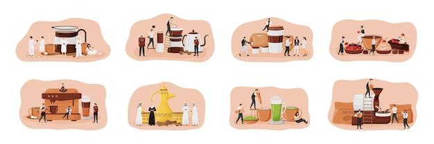 Zestaw płaskich koncepcji kultury kawy. zestaw dallah. matcha latte. cukiernia z deserami. ludzie pijący espresso postaci z kreskówek 2d do projektowania stron internetowych. kreatywny pomysł na coffeeshop
