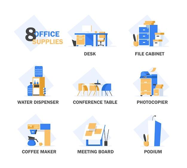 Zestaw płaskich koncepcji wyposażenia biurowego