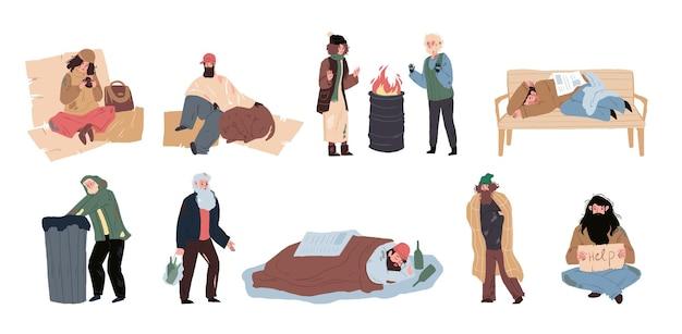 Zestaw płaskich kreskówek bezdomnych smutnych znaków, globalny problem społeczny wektor ilustracja koncepcja