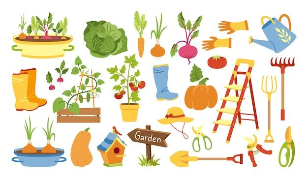 Zestaw płaskich kreskówek narzędzi ogrodniczych