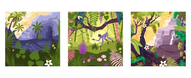 Zestaw płaskich kwadratowych kompozycji z kolorowymi widokami na las deszczowy z roślinami i zwierzętami