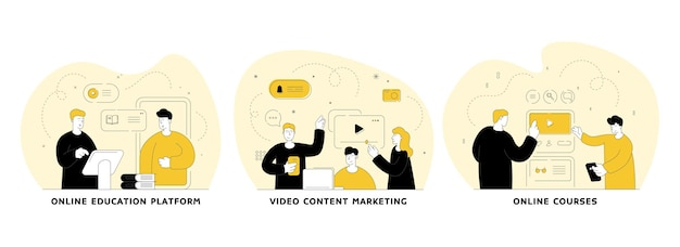 Zestaw płaskich liniowych ilustracji e-learningowych. platforma edukacyjna online, marketing treści wideo, usługi sądowe online. koncepcja uczenia się na odległość w internecie. korepetycje językowe. komunikacja przez internet