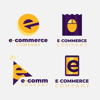 Zestaw płaskich logo e-commerce