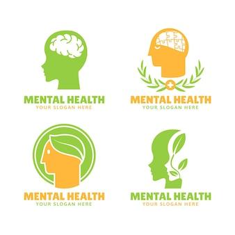Zestaw płaskich logo zdrowia psychicznego