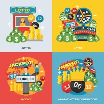 Zestaw płaskich loterii