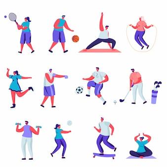 Zestaw płaskich ludzi aktywności sportowych znaków.