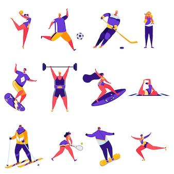 Zestaw płaskich ludzi aktywności sportowych znaków