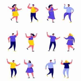 Zestaw płaskich ludzi tańczących w klubie lub postaci koncertowych muzyki