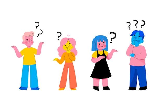 Zestaw płaskich ludzi zadających pytania