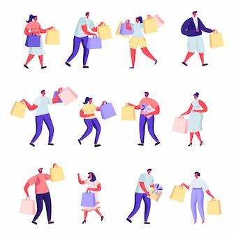 Zestaw płaskich ludzi zakupy w centrum handlowym lub supermarkecie znaków.