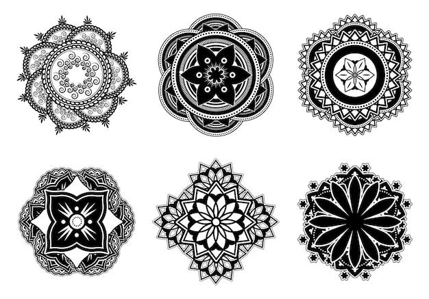 Zestaw płaskich mandali kwiatowych mehndi lub mehendi. ozdobne abstrakcyjne symbole mandali do kolekcji ilustracji wektorowych tatuaż. koncepcja kultury i dekoracji indii