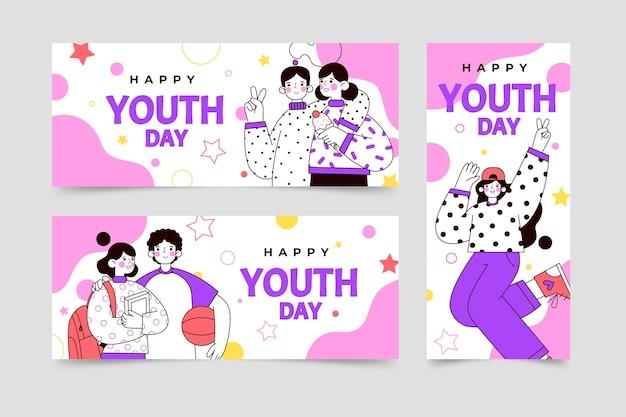 Zestaw płaskich międzynarodowych banerów dnia młodzieży