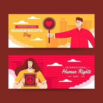 Zestaw płaskich międzynarodowych banerów poziomych na dzień praw człowieka
