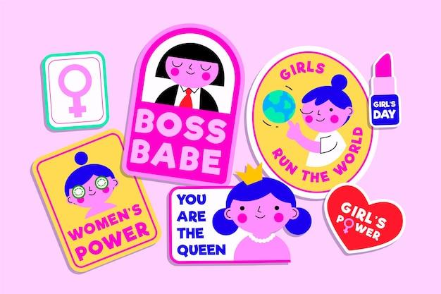 Zestaw płaskich międzynarodowych etykiet na dzień kobiet