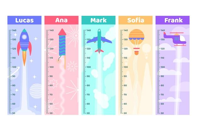 Zestaw płaskich mierników wysokości