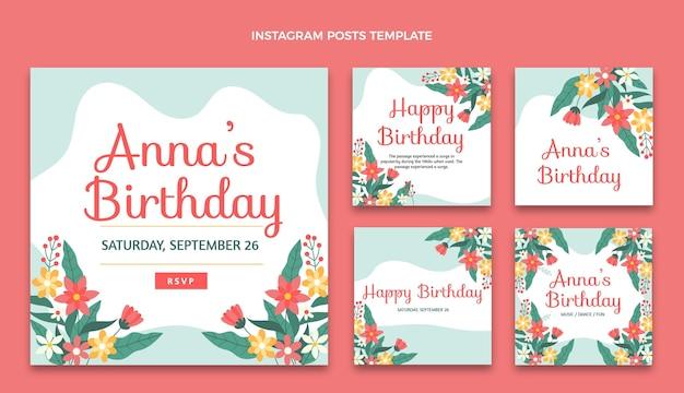 Zestaw płaskich minimalnych postów urodzinowych