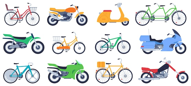 Zestaw płaskich motocykli