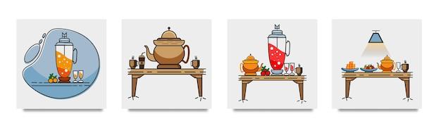 Zestaw płaskich motywów jedzenia i picia
