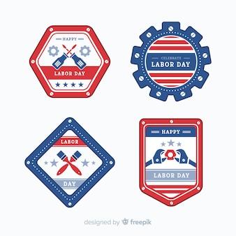 Zestaw płaskich odznak dni roboczych