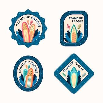 Zestaw płaskich odznak i etykiet sup