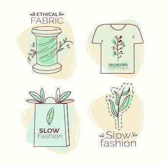 Zestaw płaskich odznak w stylu slow fashion