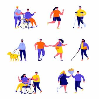 Zestaw płaskich osób niepełnosprawnych z ich romantycznymi partnerami i postaciami przyjaciół