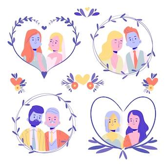 Zestaw płaskich par ślubnych
