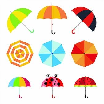 Zestaw płaskich parasoli