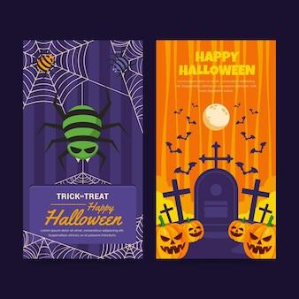 Zestaw płaskich pionowych banerów halloween