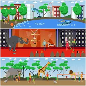 Zestaw płaskich plakatów delfinarium, cyrku i zoo, banery