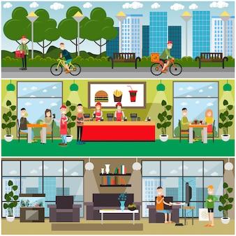 Zestaw płaskich plakatów fast food, banery