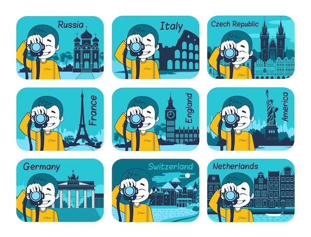Zestaw płaskich podróży z różnymi krajami świata. podróż i turystyka