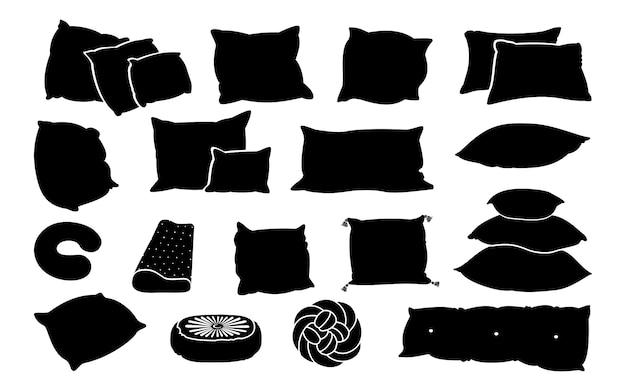 Zestaw płaskich poduszek glifów czarny. monochromatyczne lite kształty poduszki. kontur poduszek do spania