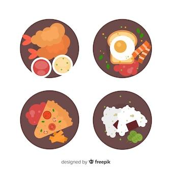 Zestaw płaskich potraw