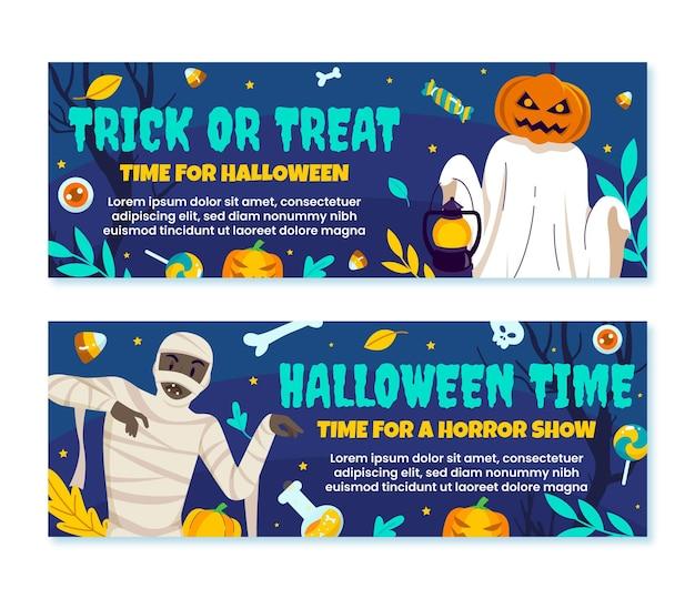 Zestaw płaskich poziomych banerów halloween