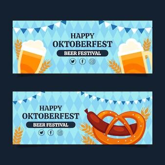 Zestaw płaskich poziomych banerów oktoberfest