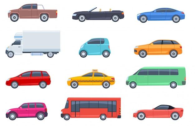 Zestaw płaskich samochodów. taksówka i minivan, kabriolet i odbiór. autobus i suv, ciężarówka. miejskie, miejskie samochody i pojazdy transportują wektorowe płaskie ikony