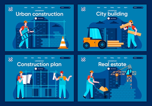 Zestaw płaskich stron docelowych budowania miasta. profesjonalna inżynieria i budownictwo, osoby pracujące na scenach budowy witryny lub strony internetowej cms. nieruchomość, miastowa budowy ilustracja