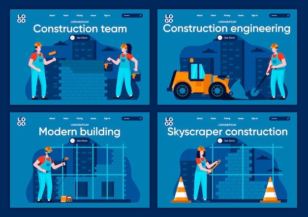 Zestaw płaskich stron docelowych inżynierii budowlanej. spawacz, malarz i murarz pracujący przy scenach dla strony internetowej lub strony internetowej cms. nowożytna firma budowlana, drapacz chmur budowy ilustracja.