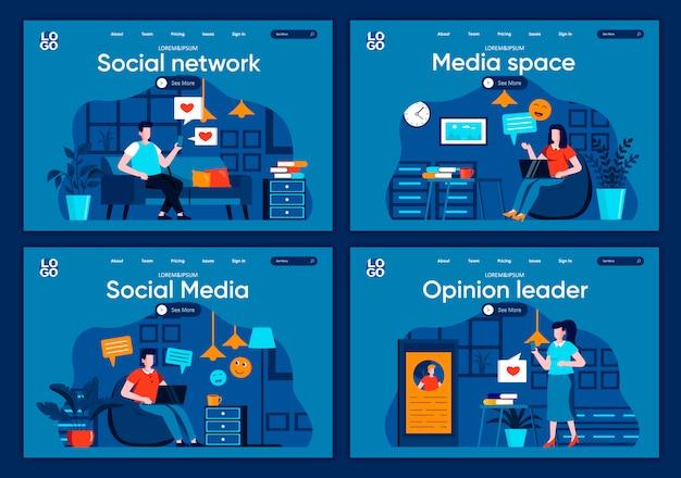 Zestaw płaskich stron docelowych mediów społecznościowych. komunikacja online i wiadomości ze scenami z urządzeń cyfrowych na stronie internetowej lub stronie internetowej cms. sieć społeczna, przestrzeń medialna i opinia lidera ilustracja