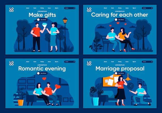 Zestaw płaskich stron docelowych propozycji małżeństwa. romantyczne randki i pary relacji na stronie internetowej lub stronie cms. dbając o siebie, romantyczny wieczór i rób prezenty.