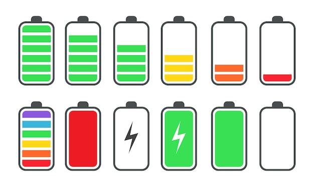 Zestaw płaskich symboli stanu naładowania baterii telefonu