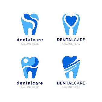 Zestaw płaskich szablonów logo stomatologicznych