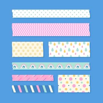 Zestaw płaskich taśm washi w różnych kolorach