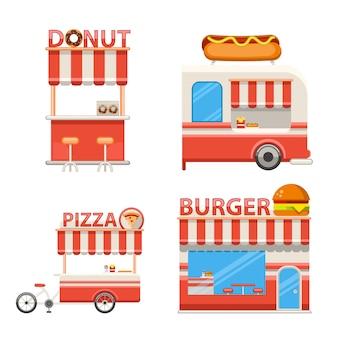 Zestaw płaskich ulicznych stoisk żywności ikony i elementy