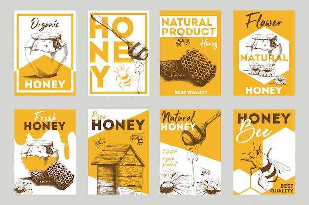 Zestaw płaskich ulotek o strukturze plastra miodu i pszczół