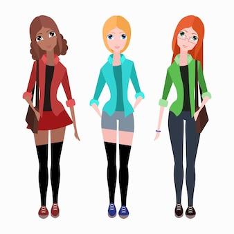 Zestaw płaskich wektor hipster dziewcząt do ilustracji, infographi